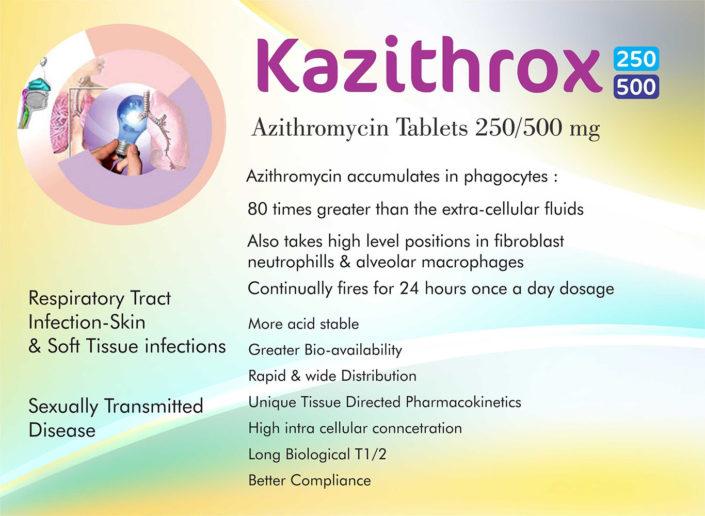 Kazithrox 250, 500 Azithromycin tablets 250/500mg