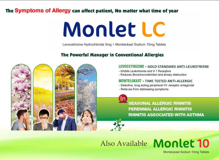 Monlet LC levocetirizine Hydrochloride 5mg + Montelukast Sodium 10mg Tablets
